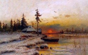 Picture winter, snow, sunset, picture, painting, Winter sunset, Juli Clover