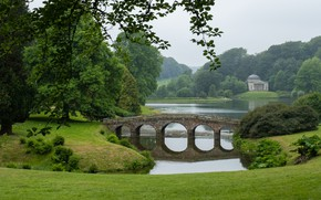 Picture trees, bridge, lake, England, panorama, Stored, England, Wiltshire, Wiltshire, the landscape Park, Stourhead Gardens