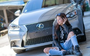 Picture machine, girl, background, lexus