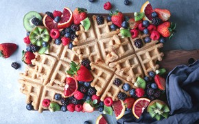 Picture berries, raspberry, orange, kiwi, strawberry, waffles, BlackBerry, blueberries