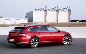 Picture red, Volkswagen, airport, universal, Shooting Brake, R-Line, 2020, Arteon, eHybrid