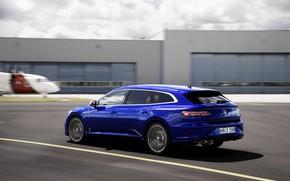 Picture blue, building, speed, blur, Volkswagen, universal, Shooting Brake, 2020, Arteon, Shooting Brake R, Arteon R