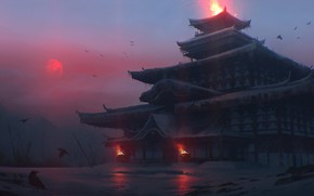 Picture cold, winter, fire, Japan, temple, twilight, red moon, crow, gloomy atmosphere, by Quentin Bouilloud