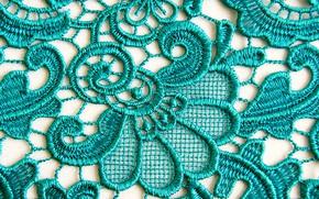 Picture pattern, texture, ornament, lace, guipure, Aqua, silk thread, floral motif