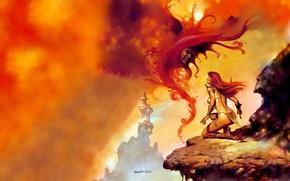 Picture The demon, Red Sonja, Red Sonja, Boris Vallejo, Boris Vallejo, Бронебикини