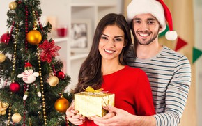 Picture girl, smile, tree, pair, New year, male, lovers, Christmas, New Year