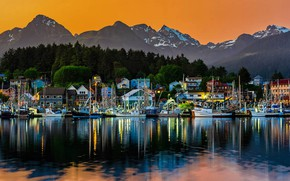Picture mountains, Alaska, USA, harbour, Ситка