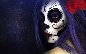 Wallpaper Girl, Figure, Style, Eyes, Background, Calavera, Digital Art, Day of the Dead, Day of the ...