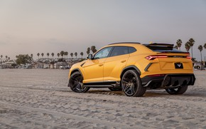 Picture beach, sunset, lights, the evening, Lamborghini, Vorsteiner, crossover, Urus, 2019