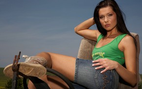 Picture Brunette, Model, Woman, Jeans, Hair, Shorts