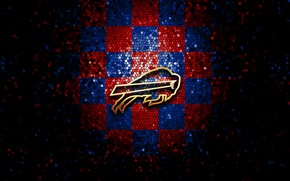 Picture wallpaper, sport, logo, NFL, glitter, checkered, Buffalo Bills