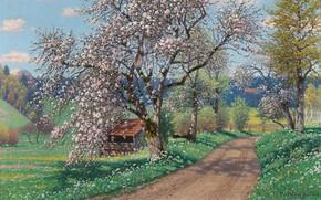 Picture Spring day, German painter, German painter, oil on canvas, Fritz Müller-Landeck, Fritz Müller-Landeck, A Spring …