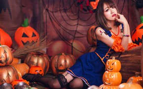 Picture autumn, girl, face, pose, style, background, holiday, feet, network, spiders, web, costume, outfit, pumpkin, image, …