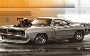 Picture Auto, Figure, Machine, 1969, Dodge, Art, Charger, Dodge Charger, Dodge Charger R/T, Alexander Sidelnikov, by …