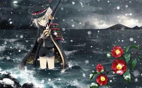 Picture cold, sea, snow, shorts, katana, armor, cap, in the water, in the dark, Touken Ranbu, …