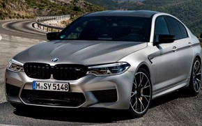 Picture road, asphalt, grey, BMW, Parking, sedan, 4x4, 2018, four-door, M5, V8, F90, M5 Competition