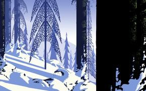 Picture Winter, Figure, Trees, Snow, Art, Art, Illustration, Jinheng LI, by Jinheng LI, eyvind earle的POV2, eyvind …