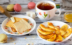 Picture tea, cookies, Cup, sugar, fruit, still life, honey, banana, slices of Apple, grilled fruit