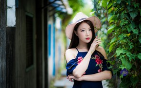 Picture girl, hat, Asian, cutie
