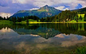 Picture greens, forest, summer, the sky, clouds, light, mountains, lake, reflection, blue, shore, the slopes, ate, …
