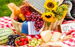 Picture grass, sunflowers, berries, wine, basket, glade, watermelon, cheese, strawberry, bread, grapes, knife, bottle, Board, fruit, ...