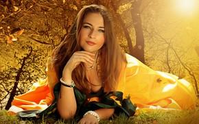 Picture autumn, chest, leaves, girl, light, Park, tree, mood, woman, positive, dress, neckline, lies, cute, hem, …