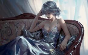 Picture look, dress, art, elf, fantasy, sitting, art