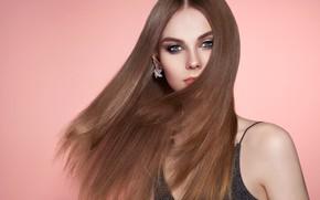 Picture girl, portrait, makeup, long hair, Oleg Gekman