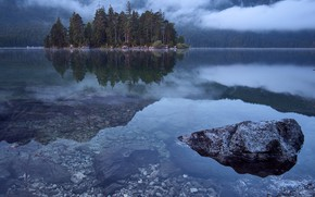 Picture forest, trees, mountains, fog, lake, stones, Germany, Eibsee