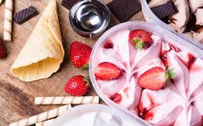 Picture berries, chocolate, strawberry, ice cream, horn, dessert, sweet, strawberry, cream, Ice