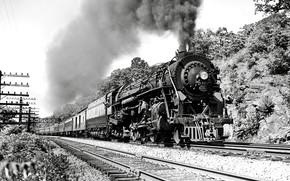 Picture Smoke, The engine, Train, The way, Rails, Railroad