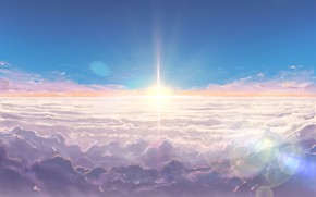 Picture the sky, clouds, sunrise, anime, art, Kimi no VA On, Your name