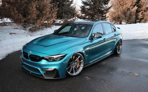 Picture BMW, Blue, Winter, Snow, White, F80, Sight