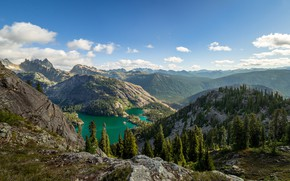 Picture forest, the sky, the sun, clouds, trees, mountains, stones, rocks, panorama, USA, lake, Chickamin Mountain