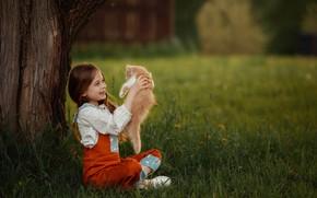 Picture grass, joy, smile, tree, mood, red, girl, kitty, friends, lawn, Julia Soboleva