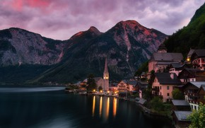Picture clouds, mountains, the city, lights, reflection, shore, the slopes, building, home, the evening, Austria, Church, …
