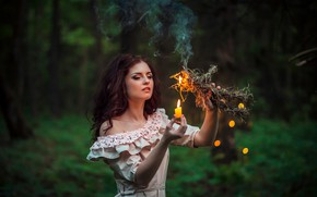 Picture background, fire, flame, smoke, candle, makeup, dress, hairstyle, Halloween, Halloween, brown hair, beauty, one, stuffed, …