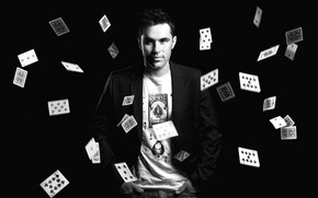 Picture card, guy, black background, black and white photo