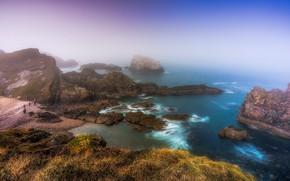 Picture fog, coast, Scotland, Scotland, Portknockie, Morayshire