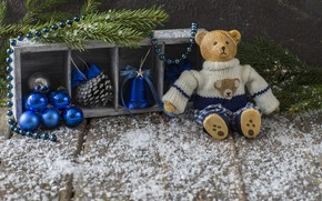 Picture decoration, balls, New Year, Christmas, Christmas, balls, snow, merry, teddy bear, decoration, New year, fir …