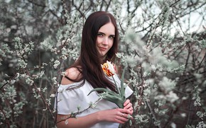 Picture flower, look, Girl, Ivan Shcheglov