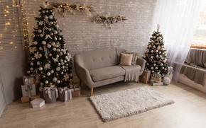 Picture decoration, tree, new year, Christmas, interior, gifts