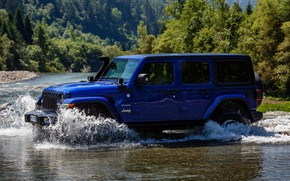 Picture blue, river, SUV, 4x4, Jeep, 2019, Wrangler Unlimited 1941 Sahara