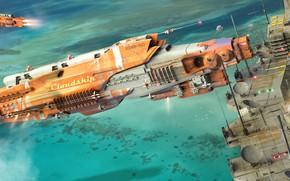 Picture fantasy, sea, science fiction, station, sci-fi, digital art, artwork, fantasy art, vehicle, futuristic, Spaceships