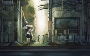 Picture umbrella, art, girl, Virtual Youtuber