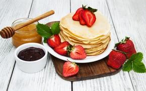 Picture strawberry, honey, pancakes, jam, cutting Board, Olena Rudo