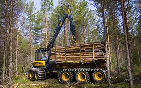 Picture forest, trees, arrow, cabin, wheel, logs, the truck, manipulator, forestry equipment, Ponsse, forwarder, Ponsse Wisent …
