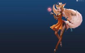 Picture anime, fantasy, art, Fox, heart, 叁乔居 3QSTUDIO, King of glory small Daji