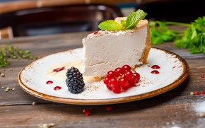 Picture berries, mint, currants, BlackBerry, cheesecake