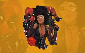Picture chest, eyes, look, gun, gun, beauty, sticker, boobs, eyes, Deadpool, Marvel, Deadpool, costumes, look, babe, ...